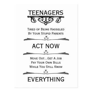 Teenagers Act Now Postcard
