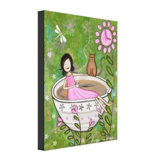 Temps de thé - Bath de chat de 16x20 Kitty badine Impressions Sur Toile