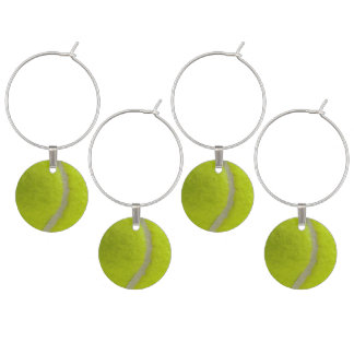 Tennis Ball Print Pattern Background Wine Glass Charms