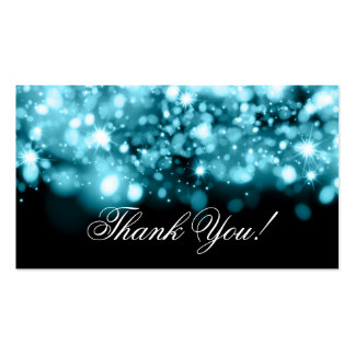 Thank You Insert Sparkling Lights Turquoise Business Card