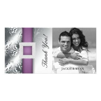 Thank You Photocard Jewel Damask Silver Purple Personalized Photo Card