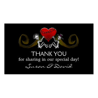 Thank You Wedding Cards - Skeletons Holding Heart Business Card