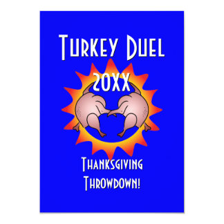 "Thanksgiving Throwdown Turkey Duel Commemorative 5"" X 7"" Invitation Card"