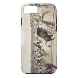 The Bull Leaping the Barriers, 1865 (colour litho) iPhone 7 Case
