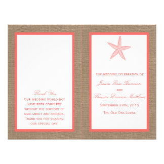 The Coral Starfish Burlap Beach Wedding Collection Full Colour Flyer