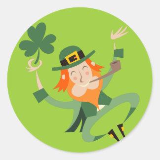 The Dancing Leprechaun Round Sticker