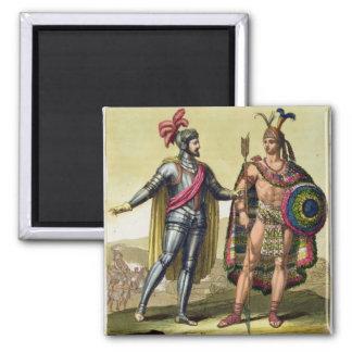 The Encounter between Hernando Cortes (1485-1547) Square Magnet