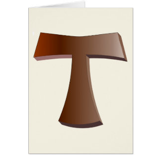 The Franciscan Cross and Prayer in Mahogany Greeting Card