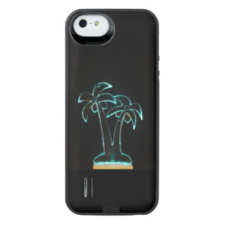 The Look of Neon Lit Up Tropical Palm Trees iPhone SE/5/5s Battery Case