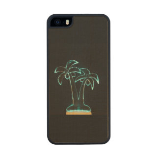 The Look of Neon Lit Up Tropical Palm Trees Wood iPhone SE/5/5s Case