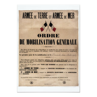 "The Mobilization in France on August 1, 1914 5"" X 7"" Invitation Card"
