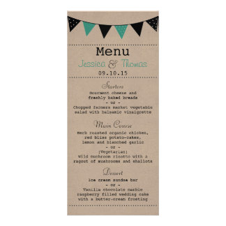 The Modern Turquoise Bunting Wedding Collection Personalized Rack Card