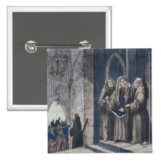 The Monks covering King with drape Camenz Convent 2 Inch Square Button