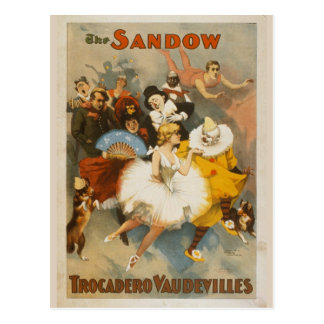 The Sandow Trocadero Vaudevilles, 1894 Poster Postcard