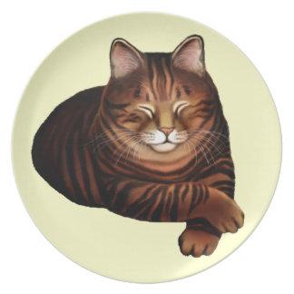 The Sleeping Brown Tabby Cat Plate