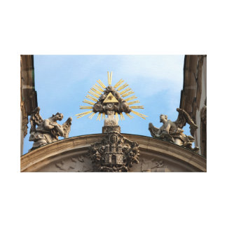 The Trinity Symbol and Angels Statues Gallery Wrapped Canvas