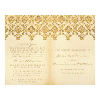 The Vintage Glam Gold Damask Wedding Collection Flyer