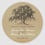 The Vintage Old Oak Tree Wedding Collection Round Sticker