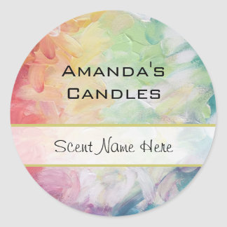 Thick Textured Abstract Paint Candle Round Sticker