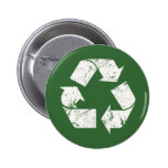 TJED Vintage White Recycle Sign On Green 2 Inch Round Button