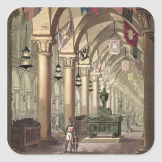 Tombs of the Knights Templar, c.1820-39 (aquatint) Square Sticker
