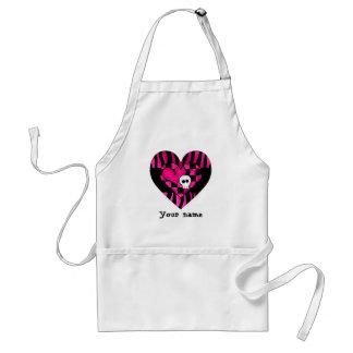 Too cute goth punk zebra heart fuschia black skull standard apron