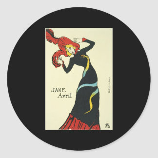 Toulouse-Lautrec Jane Avril Round Sticker