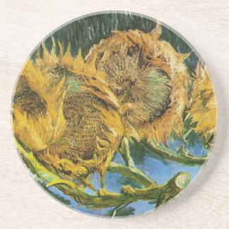 Tournesols coupés de Van Gogh quatre, beaux-arts Dessous De Verre