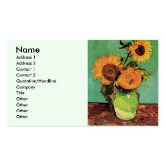 Tournesols de Van Gogh 3 en beaux-arts de cru de Carte De Visite Standard
