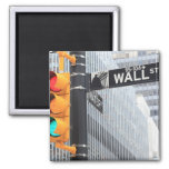 Traffic Light and Wall Street Sign Square Magnet