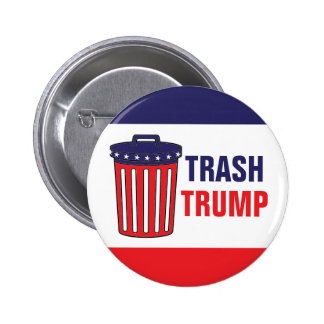 Trash Trump Red, White, & Blue Waste Can Political 2 Inch Round Button