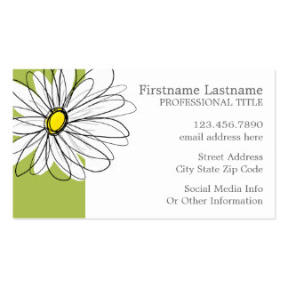 Trendy Daisy Floral Illustration - lime and yellow Business Card