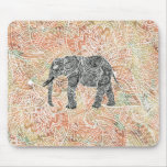 Tribal Paisley Elephant Colourful Henna Pattern Mouse Pad