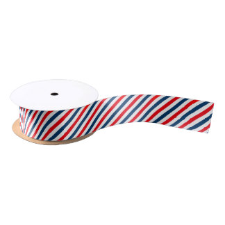 Tricolor Diagonal Stripes(blue, white, and red) Satin Ribbon