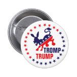 Tromp Trump Kicking Democratic Donkey Political 2 Inch Round Button