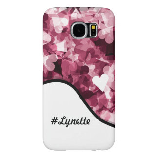 True Love Pink Hearts Emotion with Black Color Samsung Galaxy S6 Cases