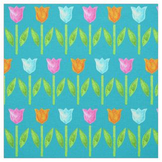 Tulipes colorées d'aquarelle dans rose, bleu, tissu
