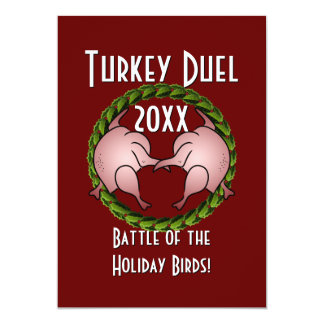 """Turkey Duel Holiday Cook Off 5"""" X 7"""" Invitation Card"""