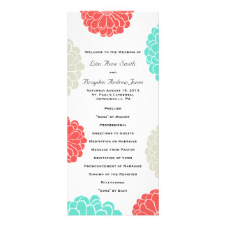 Turquoise and Coral Zinnia Flower Wedding Program Full Colour Rack Card