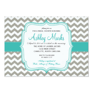 """turquoise and Grey Chevron Invitaiton 5"""" X 7"""" Invitation Card"""