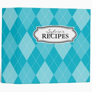 Turquoise argyle diamond pattern recipe binder