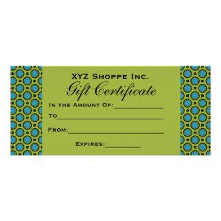 Turquoise Green Gift Certificate Custom Rack Card