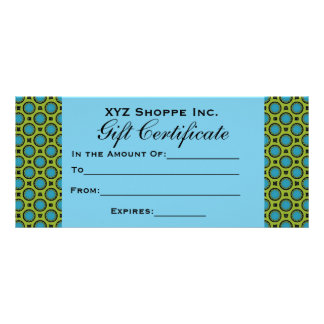 Turquoise Green Gift Certificate Rack Card