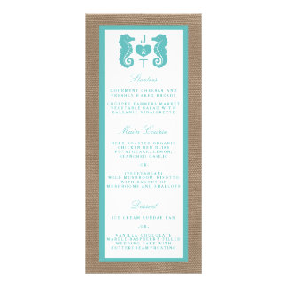 Turquoise Seahorse Burlap Beach Wedding Collection Full Colour Rack Card