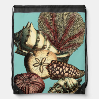Turquoise Shell and Red Coral Collection Drawstring Bags