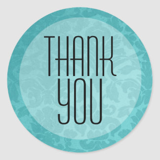 Turquoise Vintage Thank You Stickers