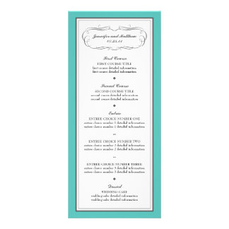 Tuxedo Wedding Menu in Turquoise and Gray Full Colour Rack Card