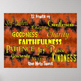 Twelve Fruits (dancing flames) Poster