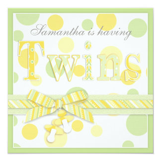 """Twin Babies Mint Yellow Dots Baby Shower 5.25"""" Square Invitation Card"""