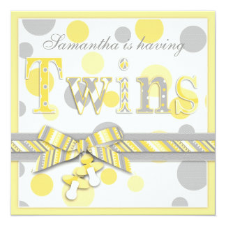 """Twin Babies Yellow Gray Dots Baby Shower 5.25"""" Square Invitation Card"""
